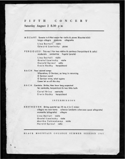 Program for a concert on August 2, 1947. Performed by Lino Bartoli, Edward Lowinsky, Gretel Lowinsky, Harold Sproul, Erwin Bodky, Carol Brice, and Martha Vahrenkamp. Included Sonata in B flat for violin and piano by Mozart, Trio no. 1 for two violins and continuo by Pergolesi, Four Sacred Songs by Bach, Cantata: Strike, thou hour long expected by Bach, String Quartet Op. 18 no.4 in C minor by Beethoven. Program printed by BMC Print Shop. Released by Janet Heling Roberts. Courtesy The North Carolina State Archives