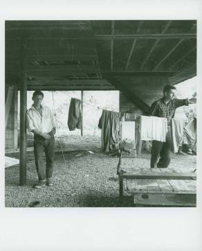 Portrait taken by Jonathan Williams of Dan Rice and Robert Creeley at Black Mountain College, ca. 1955. This photograph was likely taken under the Studies Buildings on the Lake Eden campus. Creeley taught Literature and Writing at BMC in 1954 and Rice was a student from 1946-1953.