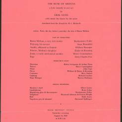 "Program for performance on August 14, 1948 of ""The Ruse of Medusa: a lyric comedy in one act"" by Erik Satie. Cast included: Buckminster Fuller, Isaac Rosenfeld, William Shrauger, Elaine de Kooning, Merce Cunningham, and Alvin Charles Few. Direction by: Helen Livingston and Arthur Penn. Dance by: Merce Cunningham; Music performed by: John Cage. Courtesy the North Carolina State Archives"