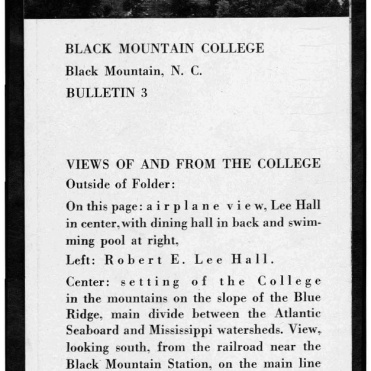 #1, No.3, 1934:1935 Black Mountain College Bulletin. Courtesy of Western Regional Archives.