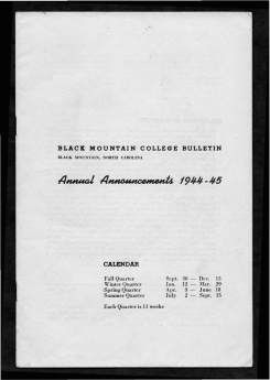 #1 Vol. II, No. 8. - 08.1944 Black Mountain College Bulletin. Courtesy of Western Regional Archives.