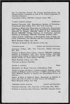 #10 Vol. II, No. 8. - 08.1944 Black Mountain College Bulletin. Courtesy of Western Regional Archives.