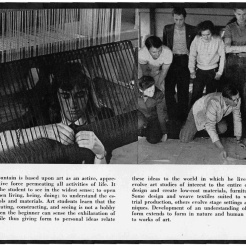 #11 Vol. I, No. 3. - 02.1943 Black Mountain College Bulletin / photographic bulletin that explains the educational goals and structure of Black Mountain College, illustrated with pictures of students and faculty. Released by Emily R. Wood. Courtesy The North Carolina State Archives
