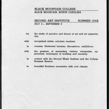#2 May 1945 Vol. III, No. 6 Black Mountain College Bulletin. Courtesy of Western Regional Archives