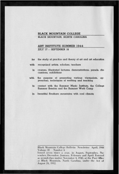 #2 Vol. II, No. 6 - 04.1944 Black Mountain College Bulletin. Courtesy of Western Regional Archives.
