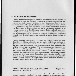 #2 Vol. II, No. 8. - 08.1944 Black Mountain College Bulletin. Courtesy of Western Regional Archives.