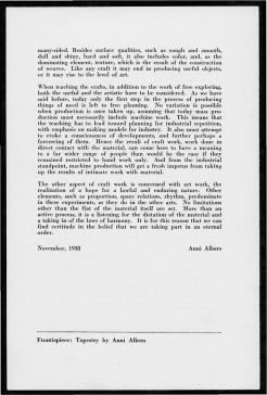 "#4 No. 5, 1938 - ""Work with Material"" Black Mountain College Bulletin. Courtesy of Western Regional Archives."