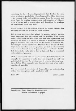 #7 No. 2, 11.1944 Josef Albers Black Mountain College Bulletin. Courtesy of Western Regional Archives