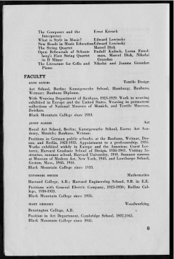 #8 Vol. II, No. 8. - 08.1944 Black Mountain College Bulletin. Courtesy of Western Regional Archives.