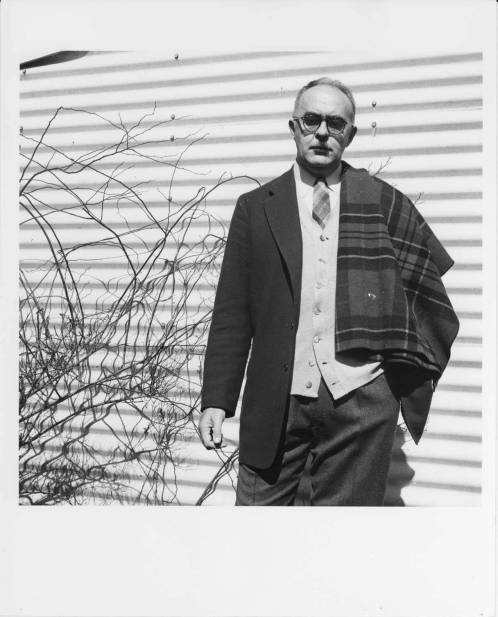 Portrait taken by Jonathan Williams of Charles Olson at Black Mountain College. Charles Olson taught Writing and Literature at Black Mountain College and in 1953 was appointed the college's Rector. Courtesy Western Regional Archives.