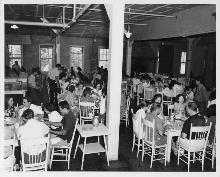 Dining Room, Blue Ridge campus, Black Mountain College, ca. 1940. Courtesy of Western Regional Archives