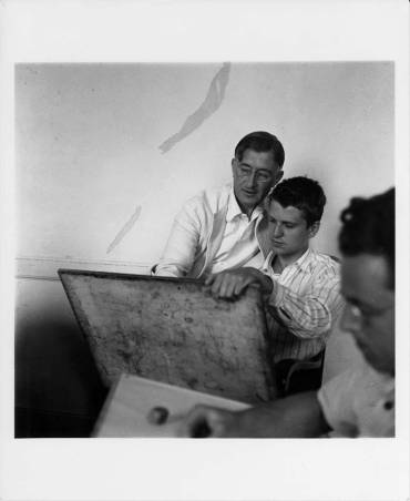 Josef Albers and student Robert De Niro during Albers's drawing class, Black Mountain College, ca. 1939-1940. Student Emil Willometz is in the right foreground. Courtesy of Western Regional Archives.