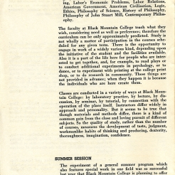 Black Mountain College Bulletin, Announcements 1948-49, S. 5. Courtesy: Black Mountain College Museum + Arts Center.