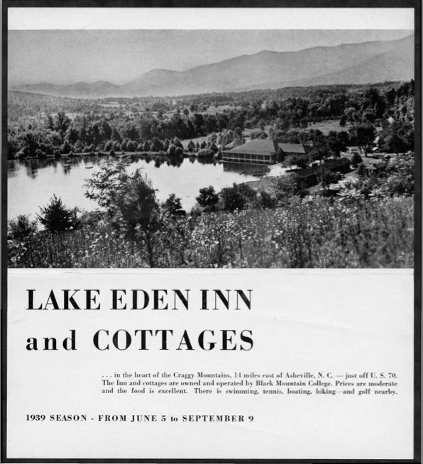 Lake Eden Inn and Cottage Brochure, Black Mountain College. Original brochure for the Lake Eden Inn and Cottages, summer season 1939. Courtesy of Western Regional Archives.
