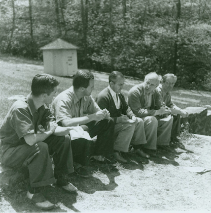 Group Portrait, Blue Ridge Campus, Black Mountain College. Photograph of Charles Lindsley (?), John Evarts, Robert Wunsch, Erwin Straus, Heinrich Jalowetz. Courtesy of Western Regional Archives.
