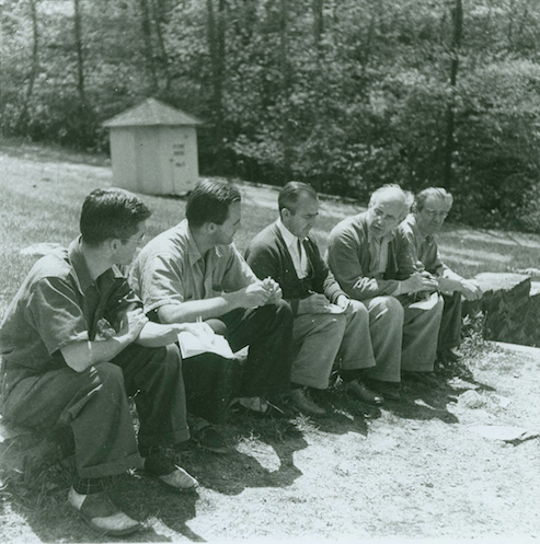 Group Portrait, Blue Ridge Campus, Black Mountain College. Photograph of Charles Lindsley (?), John Evarts, Robert Wunsch, Erwin Straus, Heinrich Jalowetz. Courtesy of Western Regional Archives.