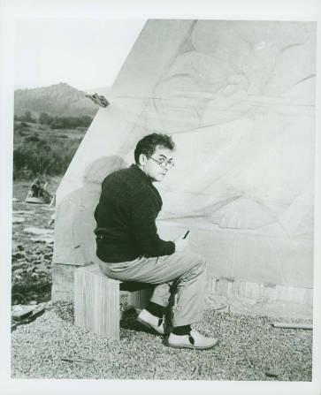 "Jean Charlot working on Fresco ""Inspiration"" under the Studies Building, Black Mountain College, summer 1944. Courtesy of Western Regional Archives."