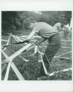 Elaine de Kooning and Buckminster Fuller's Venetian Blind Stripe Dome, 1948 Summer Session in the Arts, Black Mountain College. Photographer: Trude Guermonprez. Courtesy of Western Regional Archives.