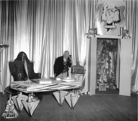 """Buckminster Fuller in """"The Ruse of The Medusa"""", Summer Session 1948, Black Mountain College. Courtesy: Black Mountain College Museum + Arts Center."""