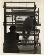 Two weavers with rug loom, ca. 1940. Photographer: John Stix. Courtesy of Western Regional Archives.