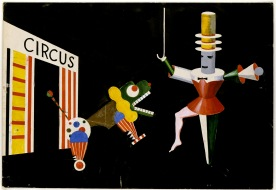 """Xanti Schawinsky, Bühnen- und Kostümentwurf zu """"Circus"""" Szene """"Dompteur und Untier"""", 1924, 34,2 x 50,1 cm, Tempera, Tusche und Bleistift auf Papier, Bauhaus-Archiv, Berlin Inv.-Nr. 3892."""
