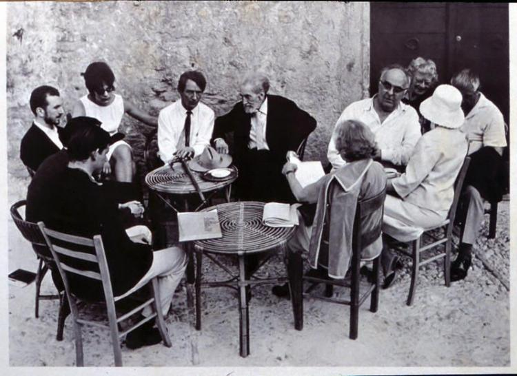 BMC Alumnus John Wieners, Ezra Pound and Charles Olson in Spoleto, 1965. Courtesy University of Connecticut Archives.
