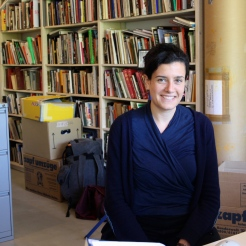Anna Schapiro, Project Coordinator, at Arnold Dreyblatt's studio in Berlin.