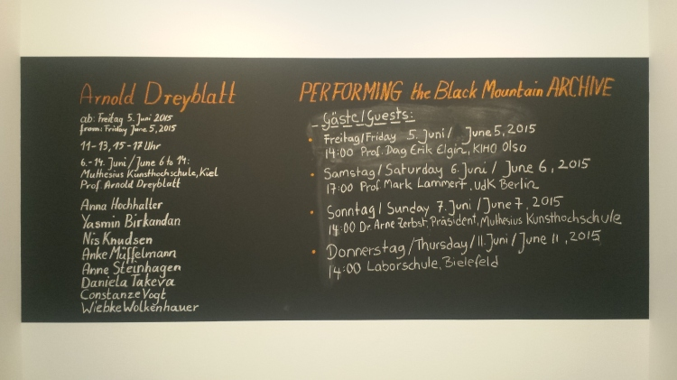"""PERFORMING the Black Mountain ARCHIVE"" announcement board at the exhibition ""Black Mountain. Ein interdisziplinäres Experiment 1933-1957"" at Hamburger Bahnhof - Museum für Gegenwart - Berlin. Courtesy: Anne Steinhagen"