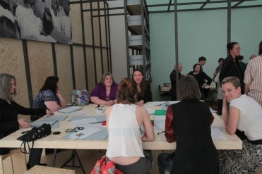 """Visit by Western Regional Archivist Heather South at """"PERFORMING the Black Mountain ARCHIVE"""" with the participating students of the Muthesius Kunsthochschule Kiel at the Black Mountain exhibition at Hamburger Bahnhof - Museum für Gegenwart - Berlin. Courtesy: Anne Steinhagen"""
