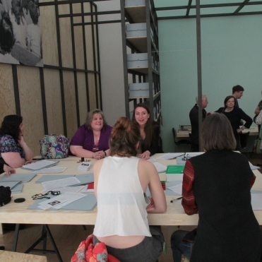 "Visit by Western Regional Archivist Heather South at ""PERFORMING the Black Mountain ARCHIVE"" with the participating students of the Muthesius Kunsthochschule Kiel at the Black Mountain exhibition at Hamburger Bahnhof - Museum für Gegenwart - Berlin. Courtesy: Anne Steinhagen"