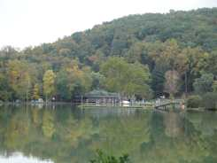 Dining Hall from across the lake, Black Mountain College, near Asheville, North Carolina. Photo: Matilda Felix, 2014.