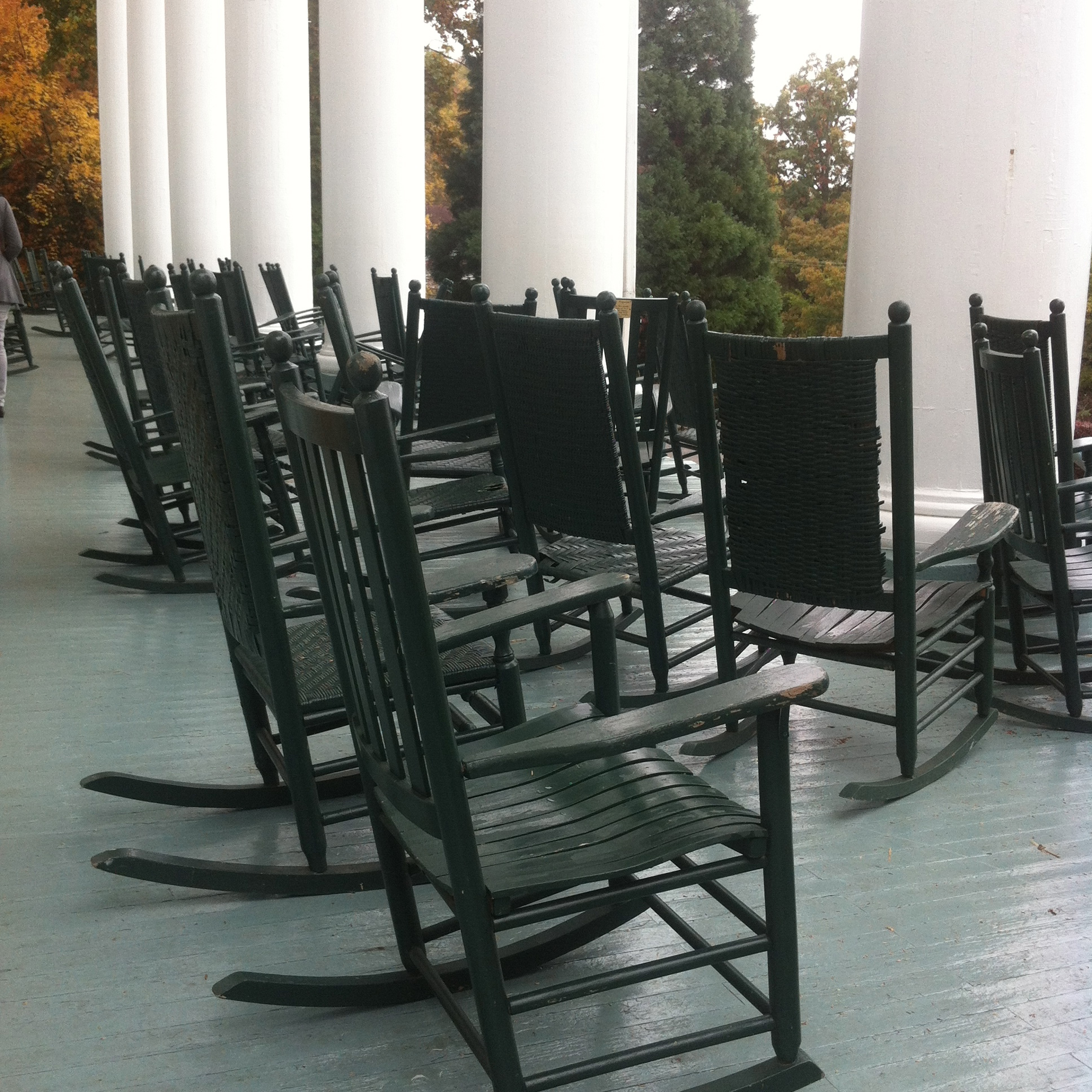 Rocking Chairs On The Porch Of The Blue Ridge Lee Hall Of Black Mountain College Near Asheville North Carolina