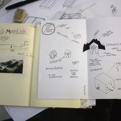 Skizzen zum Architekturmodell für die Black-Mountain-Ausstellung im Hamburger Bahnhof von raumlaborberlin-Architektin Claire Mothais.
