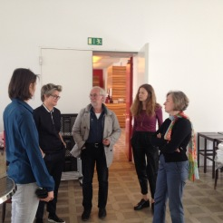 Black Mountain Research Team meeting: Matilda Felix, Annette Jael Lehmann, Eugen Blume, Verena Kittel and Gabriele Knapstein visiting the press conference room at Hamburger Bahnhof - Museum für Gegenwart - Berlin.