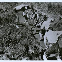 Students working on drainage ditch for the Studies Building, Lake Eden campus, ca. 1940-41. Courtesy Western regional Archives
