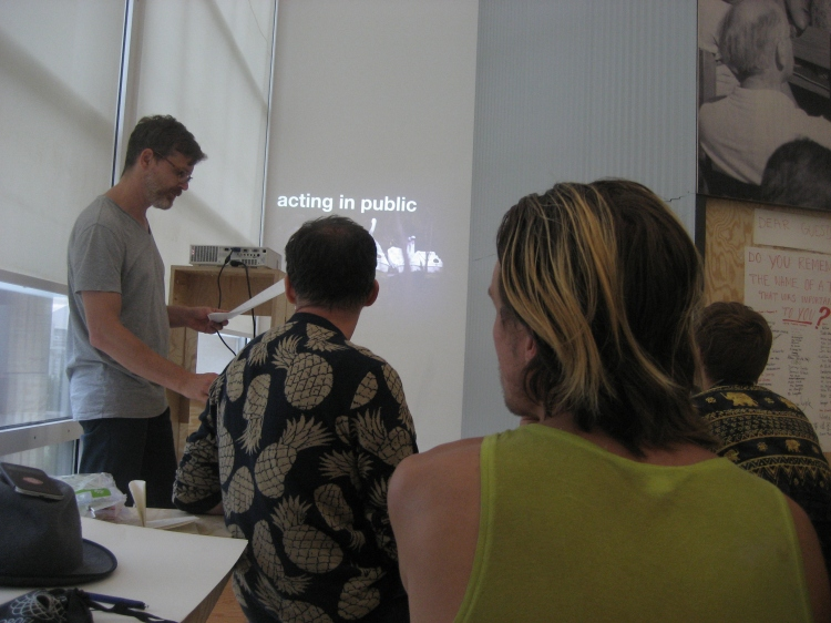 Photo by Mari Lassen-Bergsten Kamsvaag. Christof Mayer and Florian Stirnemann giving a lecture about Ramlabor Berlin.