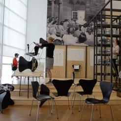 Photo by Elizabet Damyanova. Katrine Leth Nielsen rearranging the space.