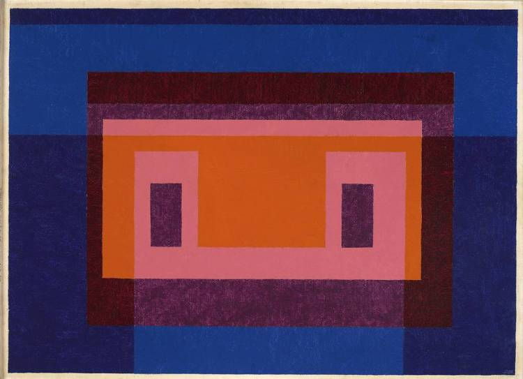 Josef Albers: Variant / Adobe, 4 Central Warm Colors Surrounded by 2 Blues, 1948. Öl auf Masonit, 66 x 90,8 cm. © The Josef and Anni Albers Foundation, VG Bild-Kunst, Bonn 2015 .