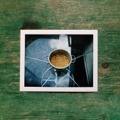 Creamed corn, polaroid documentation of preparation for work to be presented at Hamburger Bahnhof by Espen Gleditsch.