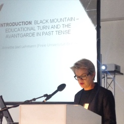 Annette Jael Lehmann giving an introduction to educational models at Black Mountain (26 /09 / 2015)