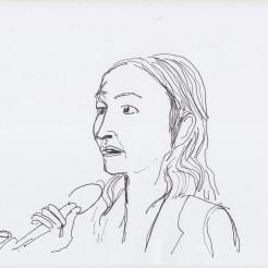 Eva Díaz drawn by Nikolaus Baumgarten.