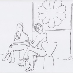 Yvonne Reiners and Christina Kral drawn by Nikolaus Baumgarten.