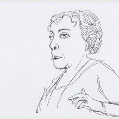 Irit Rogoff drawn by Nikolaus Baumgarten.