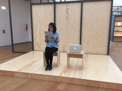 Natalia Bustamante reading: Mac could help but he is not here; constructions at the BMC Photo by Arnold Dreyblatt