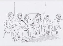Panel with Gabriele Knapstein, Patrick Müller, Nina Möntmann, Claudia Olk, Irene Campolmi and Julian Klein (26 /09 / 2015)