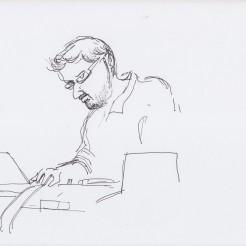 Matt Wright on the turntables drawn by Nikolaus Baumgarten.
