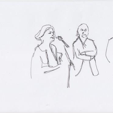 Welcome by Gabriele Knapstein, Eugen Blume and Annette Jael Lehmann drawn by Nikolaus Baumgarten.