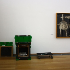"Deinstalling of the exhibition ""Black Mountain. Ein interdisziplinäres Experiment 1933-57"", Hamburger Bahnhof - Museum für Gegenwart - Berlin, on the right: Cy Twombly: Untitled, 1951, © Cy Twombly Foundation."
